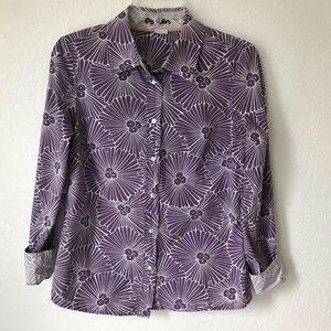 Boden Purple White Floral Button Down Size 6